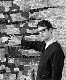 <p>Richard Allen in front of his mosaic mural for the Chippenham College of Further Education, Wiltshire, 1960</p>